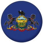Pennsylvania State Flag 58mm Mirror Keyring